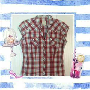 Roper Slim Pearl Snap Button Up Plaid Top size L